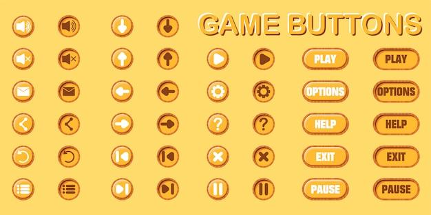 Set di pulsanti per la progettazione di giochi e applicazioni. due posizioni: originale e stampata.