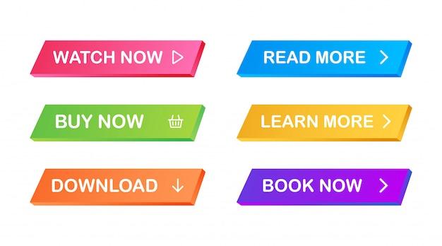 Set di pulsanti piatti moderni alla moda. diversi colori di forme principali.