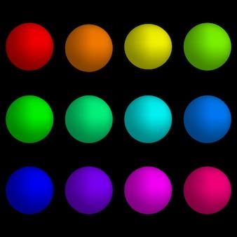 Set di pulsanti su sfondo nero.