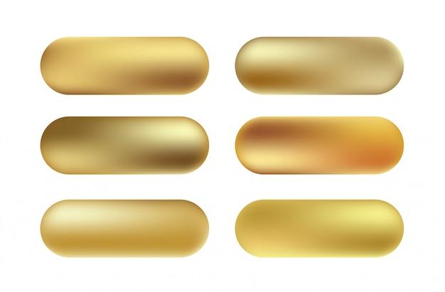 Set di pulsanti texture foglia oro. accumulazione di gradiente dorato, lucido e metallico dorato di vettore