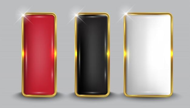 Set di pulsanti web bianco lucido gold5