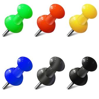 Set di puntine realistiche in diversi colori. puntine da disegno