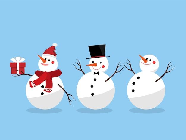 Set di pupazzo di neve per le festività natalizie.