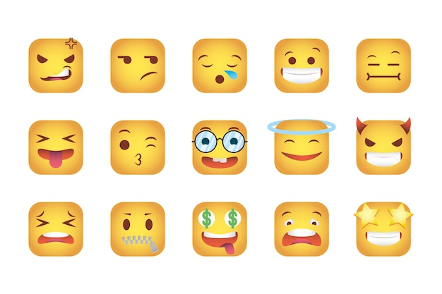 Set di quadrati emoticon volti di personaggi