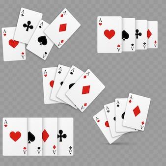 Set di quattro assi che giocano a carte. realistico.