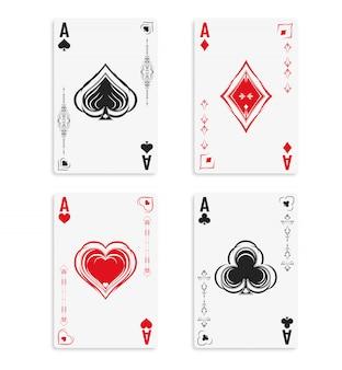 Set di quattro assi di un mazzo di carte