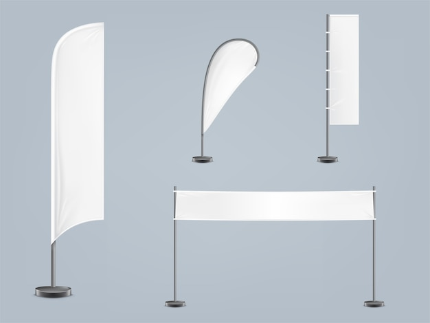 Set di quattro bandiere bianche, tessili o bandiere in varie forme