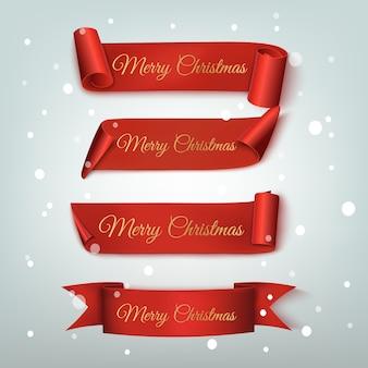 Set di quattro bandiere rosse, buon natale e felice anno nuovo, realistici