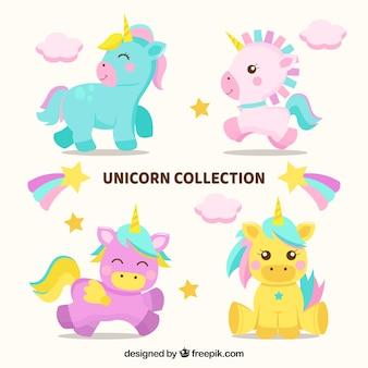 Set di quattro belle unicorni del bambino