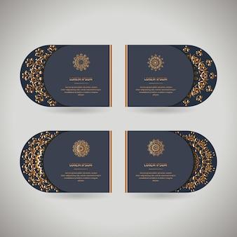 Set di quattro carte d'oro ornamentali con mandala orientale fiore
