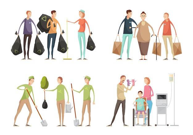 Set di quattro composizioni di volontariato con gruppi di giovani volontari in divisa che eseguono varie