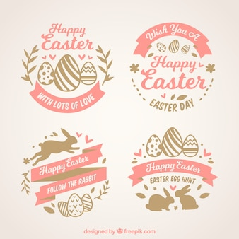 Set di quattro etichette di Pasqua