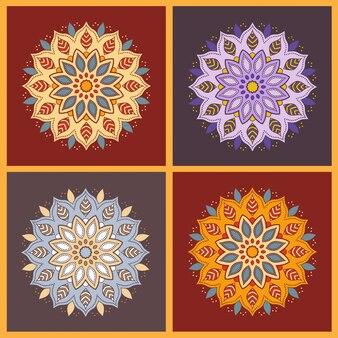 Set di quattro mandala colorati fiori orientali.