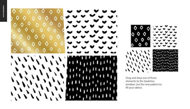 Set di quattro modelli astratti nero, oro e bianco