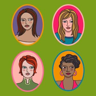 Set di quattro ritratti fumettistici di giovani donne