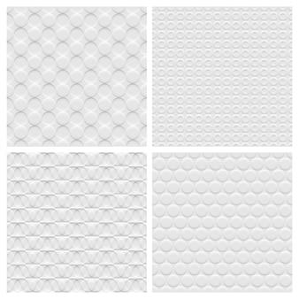 Set di quattro seamless pattern di sfondo bianco con cerchi