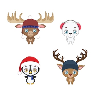 Set di quattro simpatici animali invernali con accessori invernali