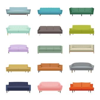 Set di quindici divani vettoriali. elementi interni illustrazione moderna design piatto