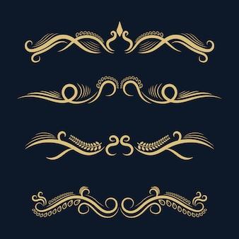 Set di raccolta di cornici di confine ornamento vintage e retrò d'oro