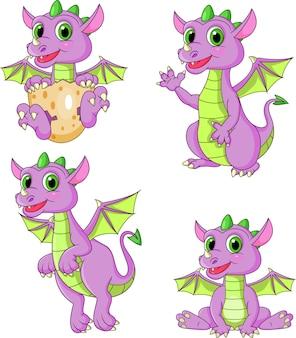Set di raccolta di draghi dei cartoni animati