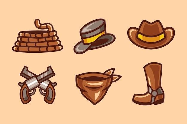 Set di raccolta di elementi western cowboy