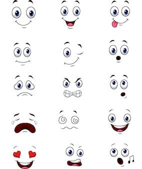 Set di raccolta di espressioni di facce dei cartoni animati