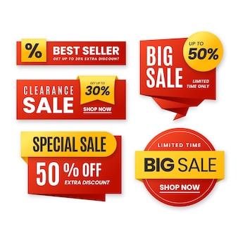Set di raccolta di etichette di vendita realistica