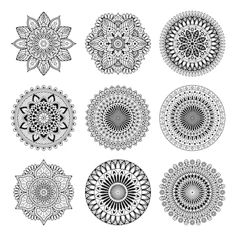 Set di raccolta di forme mandala
