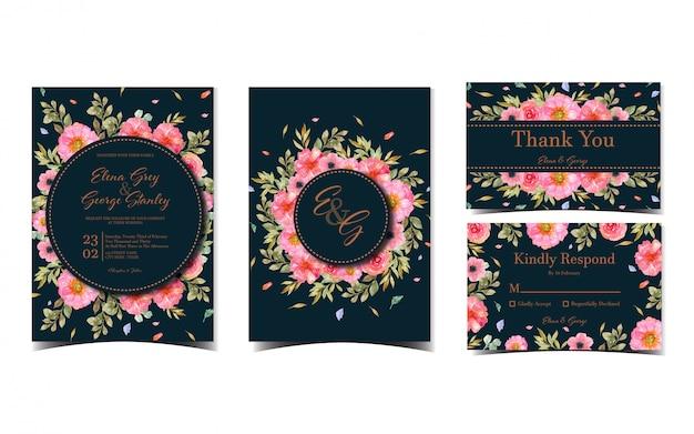 Set di raccolta di inviti di nozze con bellissimi fiori rosa