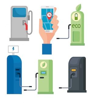 Set di raccolta, di stazioni di rifornimento gas e olio combustibile e smartphone con app gps