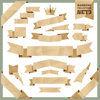 Set di raccolta di striscioni di nastri carta stropicciata