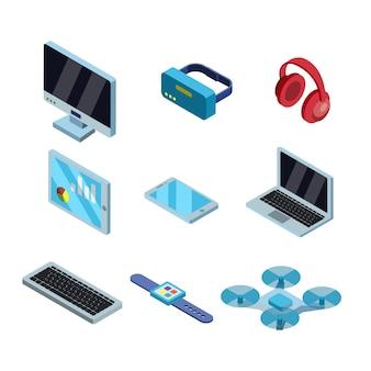 Set di raccolta di tecnologia elettronica gadget