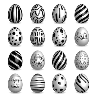 Set di raccolta di uova di pasqua in bianco e nero