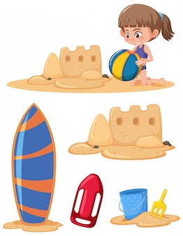 Set di ragazza che gioca sulla sabbia