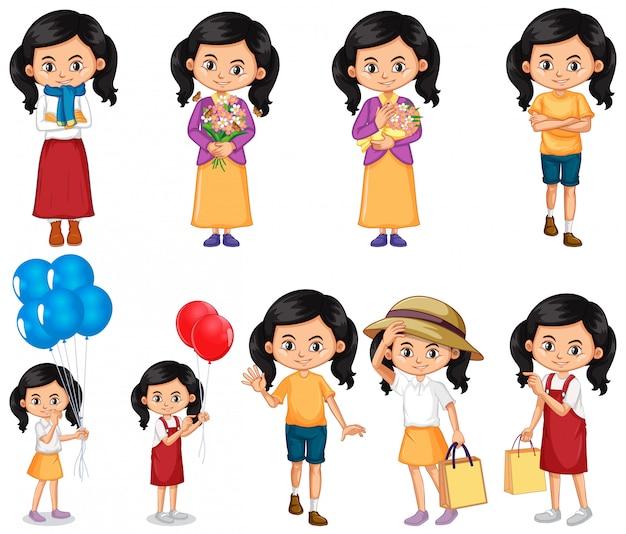Set di ragazza facendo diverse attività