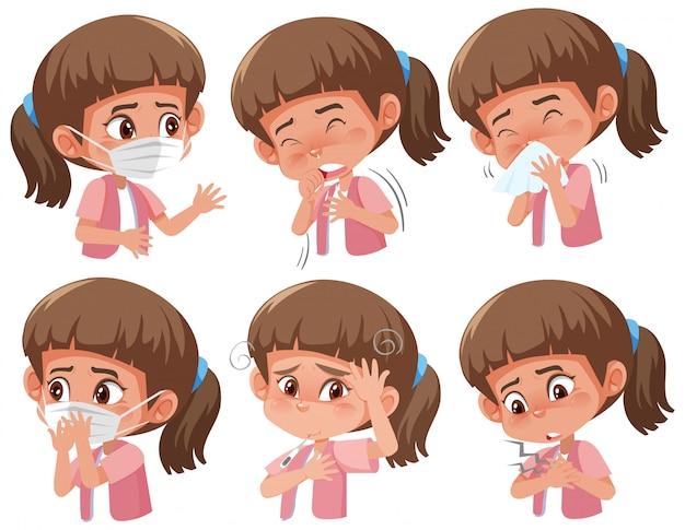 Set di ragazza malata con diversi sintomi di coronavirus