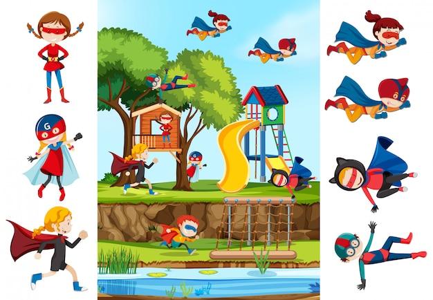 Set di ragazza supereroe e sfondo playgrounf