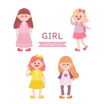 Set di ragazze carine. ritorno a scuola bambini.