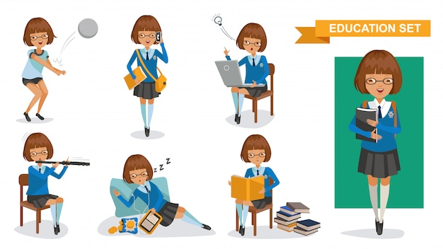 Set di ragazze del liceo. concetto di attività studentesca.