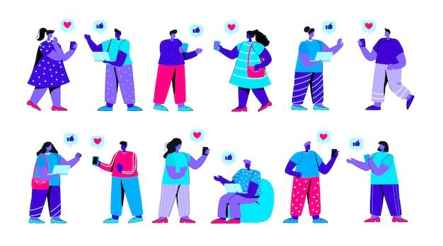 Set di ragazze e ragazzi che utilizzano il personaggio di persone piatto blu smartphone