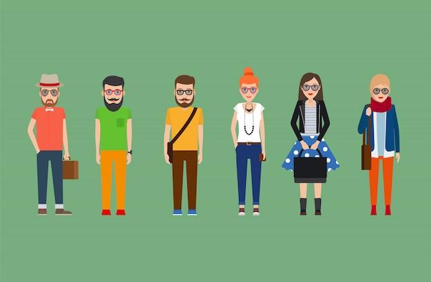 Set di ragazze e ragazzi di hipster piatto