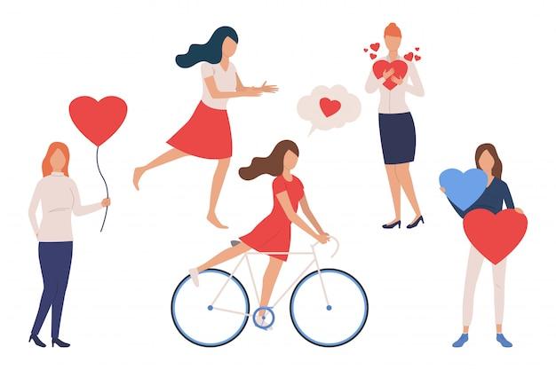 Set di ragazze innamorate