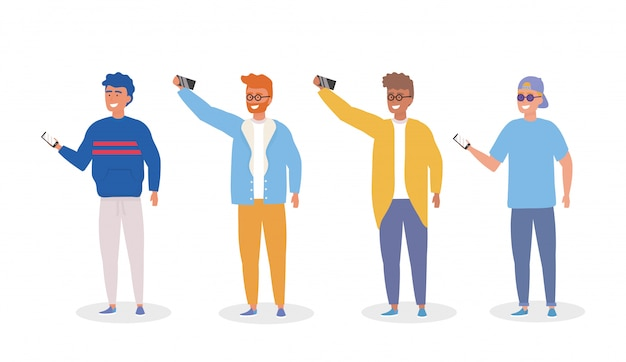 Set di ragazzi con vestiti casual e smartphone selfie