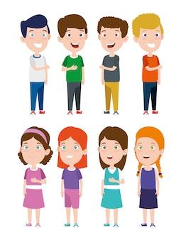 Set di ragazzi e ragazze sorridenti