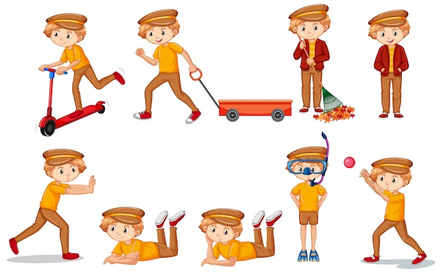 Set di ragazzo in camicia gialla facendo molte attività