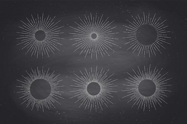 Set di raggi di luce, sunburst