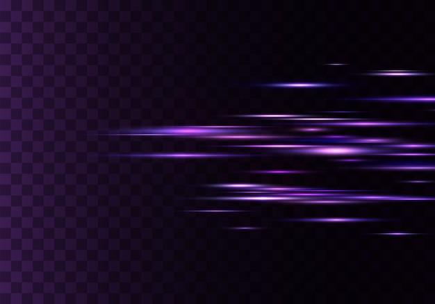 Set di raggi orizzontali di colore, lente, linee. raggi laser. sfondo trasparente foderato scintillante astratto luminoso blu, viola. bagliori di luce, effetto.