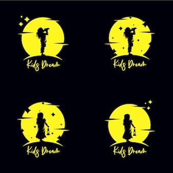 Set di raggiungere le stelle logo design