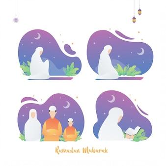 Set di ramadan islamico poster design illustrazione, il mese santo. donna musulmana che legge corano e prega insieme.