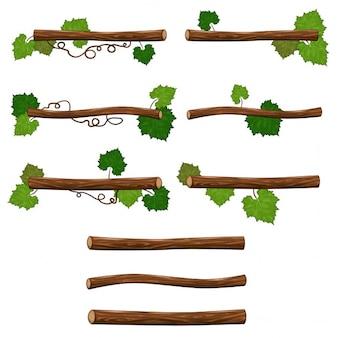 Set di rami vettore isolato oggetti per giochi di piattaforma o grafica